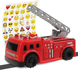 Inductive Truck - Magic Toy Truck Follows Lines Drawn on Paper - Magic Fire Truck with Funny Stickers - Batteries Included