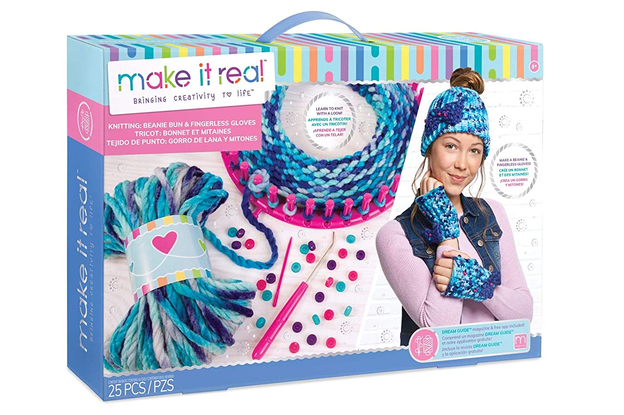 Make It Real - Knitting: Beanie Bun & Gloves. DIY Arts and Crafts Kit Guides Kids to Crochet a Beanie and Fingerless Gloves with Acrylic Yarn
