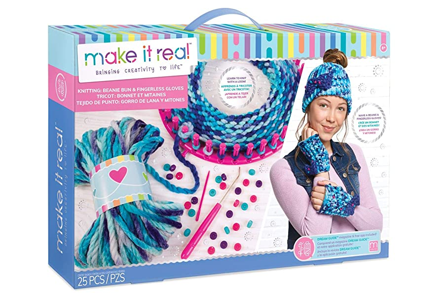 Make It Real - Knitting: Beanie Bun & Gloves. DIY Arts and Crafts Kit Guides Kids to Crochet a Beanie and Fingerless Gloves with Acrylic Yarn e946788098