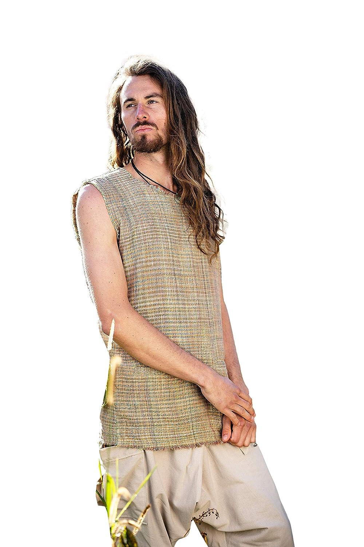 Mens Max 87% OFF Tank Top Sleeveless Shirt Green Great interest Orange Cotton po with Khadi