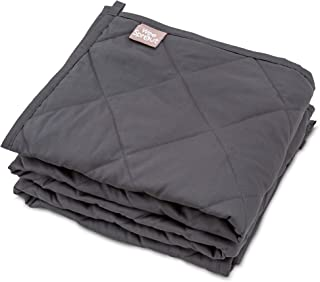 """WeeSprout Weighted Blanket for Kids (7 lbs)   100% Organic Cotton   Breathable   Stays Cool   Quilted Pockets   Glass Beads   for Kids Weighing 30-70 lbs   41"""" x 60""""   Twin Size   Dark Gray Blanket"""
