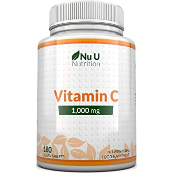 Vitamina C 1000 mg   180 compresse (Fornitura Per 6 Mesi)   Integratori alimentari Nu U Nutrition