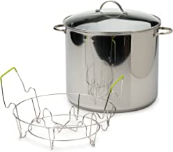 RSVP International Endurance Water Bath Canner, Stainless Steel, 20 Quart | Includes 7 Jar Canning Rack | Can Fruits, Vege...