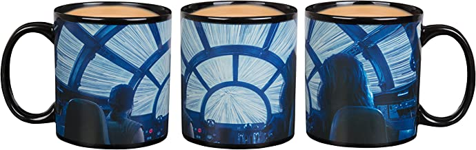 Star Wars Heat Reveal Coffee Mug - Rey and Chewbacca in Millennium Falcon - Hyperspace Activates with Heat - 20 oz