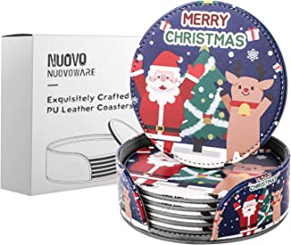 Nuovoware Round Coasters, [6-PACK] Premium PU Leather Coasters Mats with Holder Set, Merry Christmas Santa Claus Pattern, Protect Your Furniture from Stains, Water Marks, Scratch, Christmas Deer