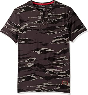 Buffalo David Bitton Men's Short Sleeve Split Neck Camo Print Tee