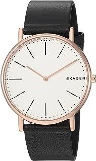 Skagen Men's Signatur Slim Titanium Analog-Quartz Watch with Leather Calfskin Strap, Black, 20 (Model: SKW6430)