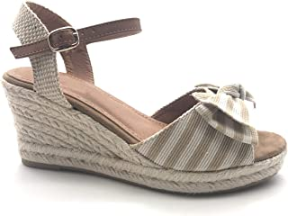 162e3e660a2960 Angkorly - Chaussure Mode Sandale Nu-Pieds de Plage Casual Style Marin Femme  Rayures Traits