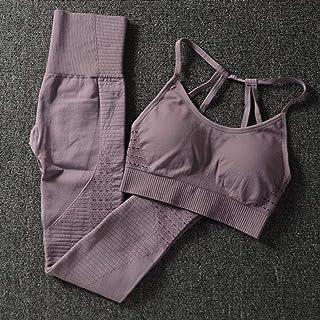 Seamless Yoga Set Women Fitness Clothing Sportswear Female Gym Leggings Padded Push-up Strappy Sports Bra2 Pcs Suits Jogging