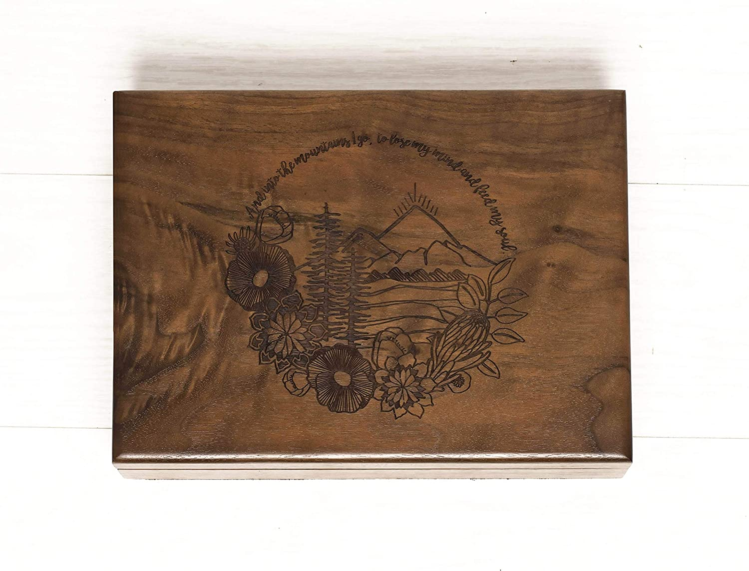 Oklahoma City Mall Free shipping on posting reviews Walnut Wood Box Design Engraved Mountains