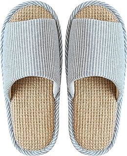 YAOLUU Summer Slippers Zapatillas de algodón y Lino Zapatillas cómodo Antideslizante Cubierta del Dedo del pie Abierto Zap...