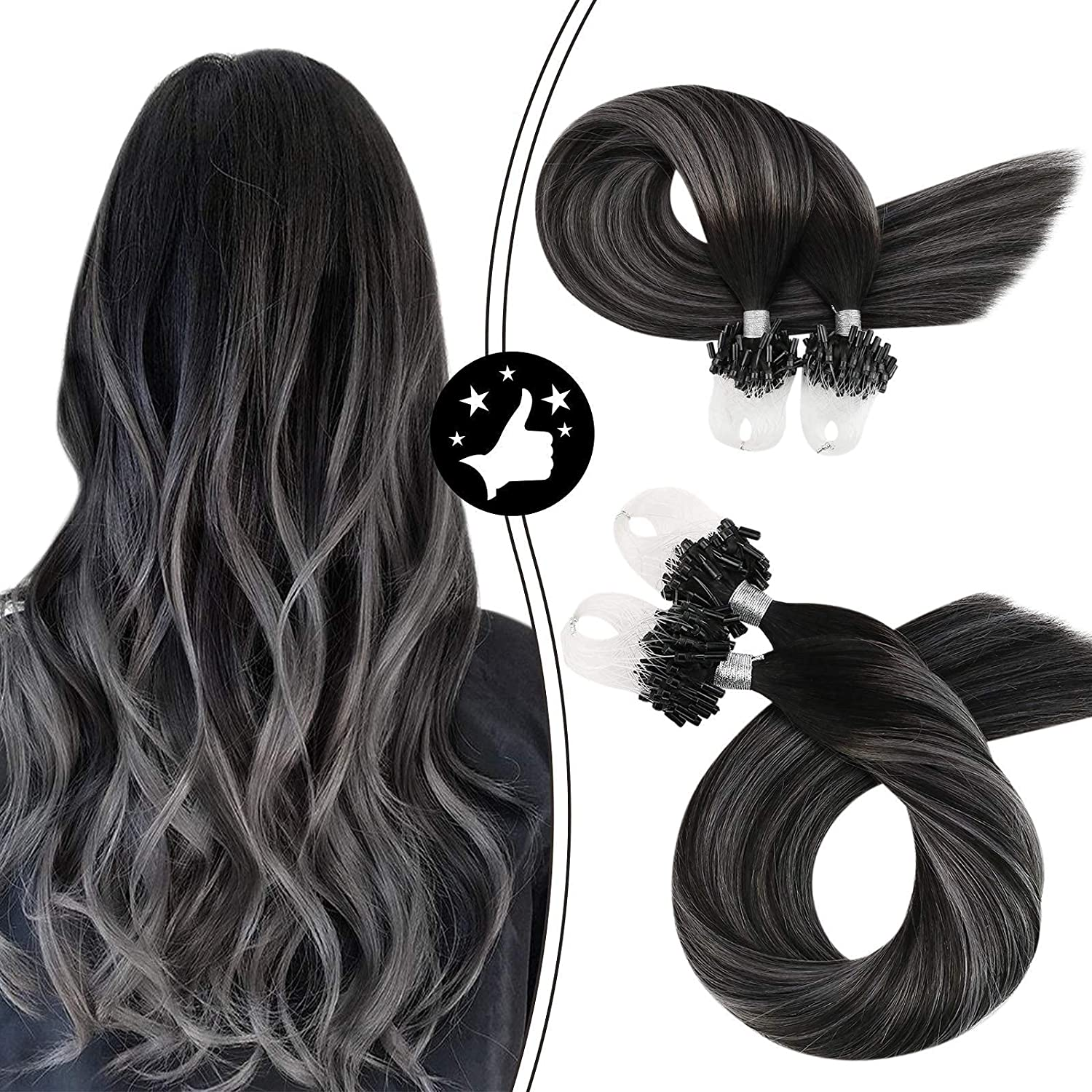 Moresoo High quality Micro Ring Hair Extensions free shipping E Human 18inch Loop