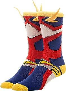 Bioworld My Hero Academia Cosplay Men's Crew Socks 3D Wings , Red, Blue, Yellow, White, Standard
