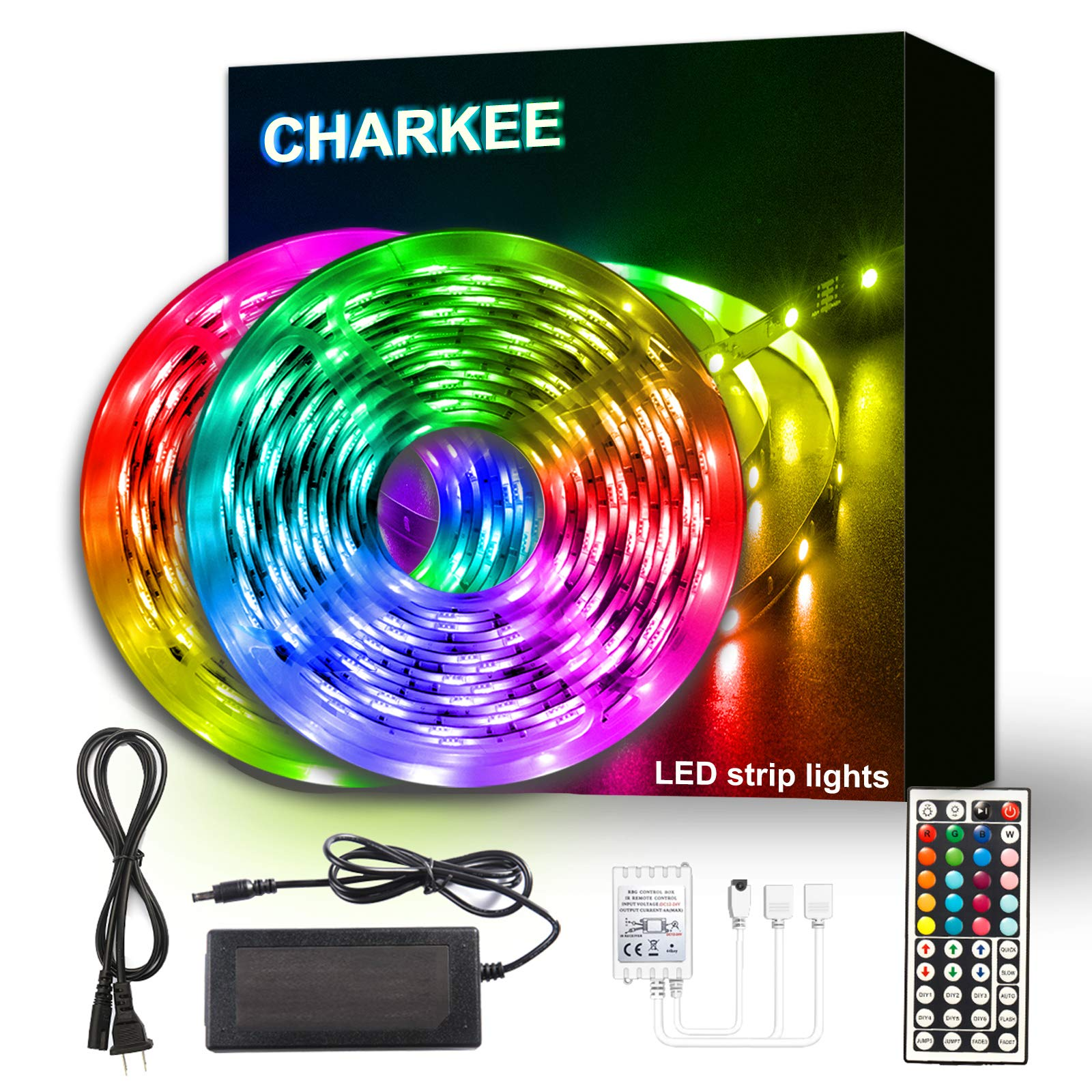 Charkee Led Lights for Bedroom 50ft, 2 Rolls of 25ft Led Light Strips with Remote and Power Supply for Bedroom, Room, Kitc...