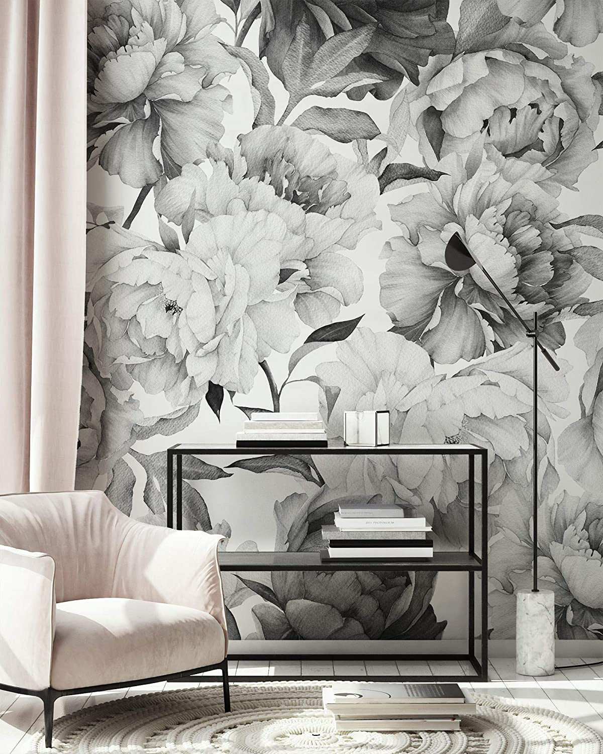 Buy Murwall Dark Floral Wallpaper Charcoal Flower Wall Mural Monochrome Peony Wall Print Classical Home Decor Cafe Design Online In Vietnam B07njdznwb