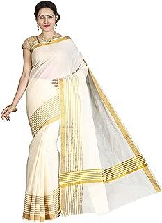 Jisb Kerala Kasavu plain saree with fancy zari stripes(SAKSA01026, off white color)