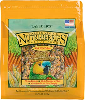 LAFEBER'S Garden Veggie Nutri-Berries Pet Bird Food, Made with Non-GMO and Human-Grade Ingredients, for Parrots, 3 lb