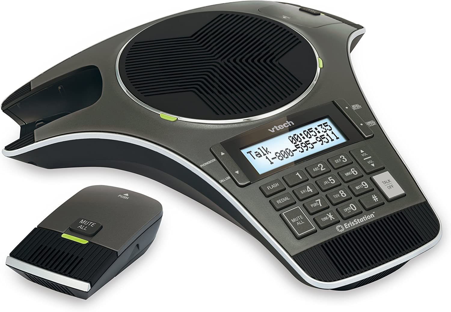 VTech VCS702 ErisStation DECT 6.0 Conference Phone with Two Wireless Mics using Orbitlink Wireless Technology : Office Products