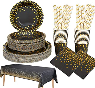 Black and Gold Party Supplies Golden Dot Disposable Tableware Serves 20- Dinner Plates,Salad Plates,Napkins,Paper Cups, Pa...