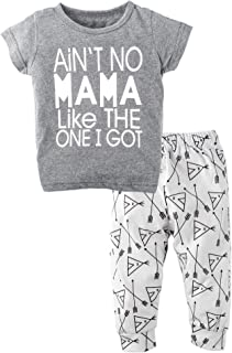 BIG ELEPHANT Unisex Baby 2 Pieces Graphic Short Sleeve Shirt Pants Set H79H80