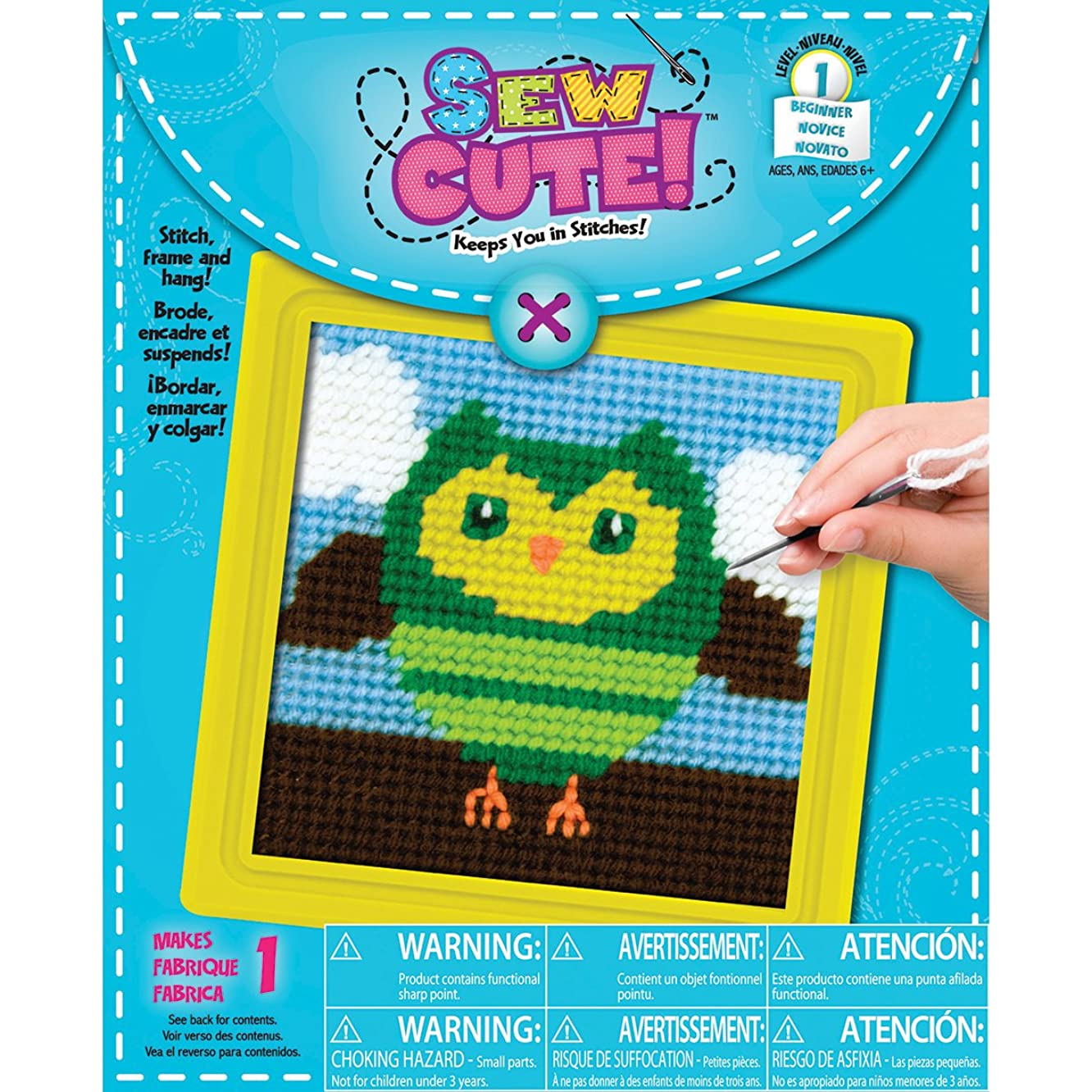 Colorbok 72672 Owl Learn to Sew Needlepoint Kit, 6