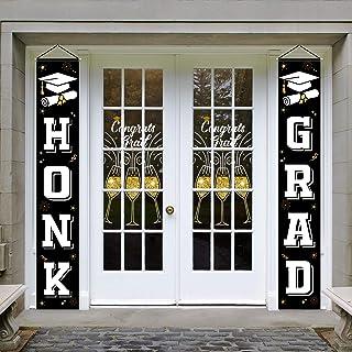 Whaline Graduation Porch Sign Set Black White Honk Grad Door Sign Congrats Grad Hanging Banner Yard Porch Graduation Party...
