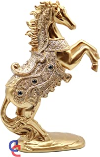Crystal 10.5 Inch Stallion Loving/Playing Brass Color Horse Standing Statue, Rearing Horse Art Figurine Decorative Sculpture Home Decor Accent Piece Horses Figurines Statues