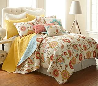 Levtex Ashbury Spring Full/Queen Cotton Quilt Set Ivory, Coral, Beige, Teal, Multi
