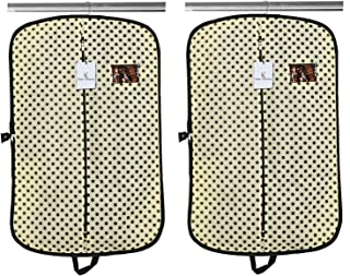 Kuber Industries Foldable Polka Dots Design 2 Piece Non Woven Coat Cover, Cream
