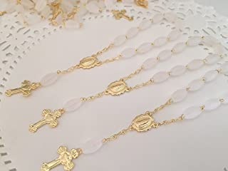 35 Pc Baptism Favors Mini Rosaries Frosted White with Gold Plated Plated Accents/communion Favors Recuerditos De Bautismo/ Christening Favors/ Decenarios/ Decades/ Finger Rosaries