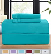 Elegant Comfort 1500 Thread Count Embroidered Egyptian Quality Luxurious Silky Soft Hypoallergenic Wrinkle & Fade Resistant 4-Piece Bed Sheet Set, Deep Pocket Up to 16, California King, Turquoise