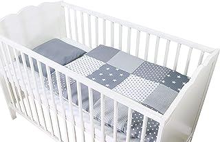 Conjunto de ropa de cuna de ULLENBOOM ® con estrellas grises (juego de 2 piezas para cuna: funda de almohada de 35x40 cm y funda nórdica de 80x80 cm)
