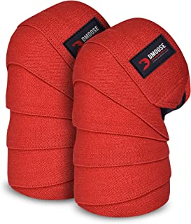 DMoose Fitness Knee Wraps for Weightlifting, Powerlifting, Deadlifting, Bodybuilding, and Gym Workouts, 78 Inches Length (...