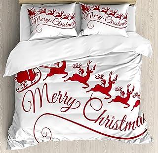 Lunarable Juego de funda de edredón con diseño de Papá Noel con su trineo y reno, decoración de Navidad, 3 piezas con 2 fu...
