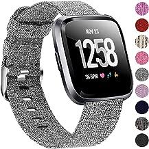Welltin Bands Compatible with Fitbit Versa/Fitbit Versa Lite for Women Men (Gray, Small 5.2