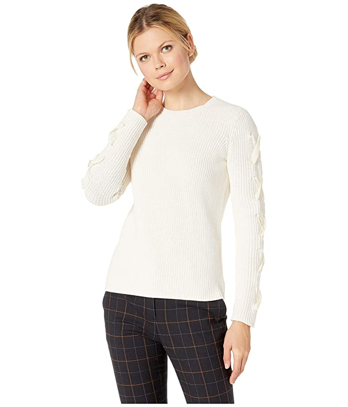 LAUREN Ralph Lauren Lace-Up Cotton Sweater (Mascarpone Cream) Women