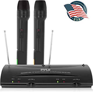 Pyle Dual Channel VHF Professional Wireless Microphone System Set with 2 Handheld..