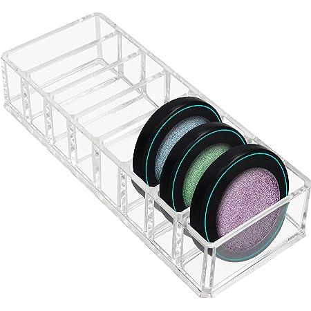 Kurtzy Clear Rangement Palette Maquillage Fard a Paupiere en Acrylique avec 8 Sections - L 21,5 x l 8,5 cm - Rangement Compact Idéal pour les Tiroirs & Commodes - Organisateur Palette Fard a Joue