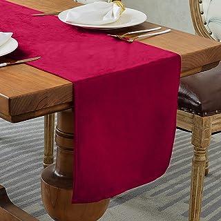 BALCONY & FALCON Velvet Table Runner Table Runner Dresser Scarves for Dinner Holiday Parties Home Kitchen,14120inch,Red