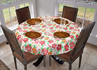 LAMINET Stitched Edge Drop Tablecloth - Hibiscus - Large Round - Fits Tables up to 70 Diameter