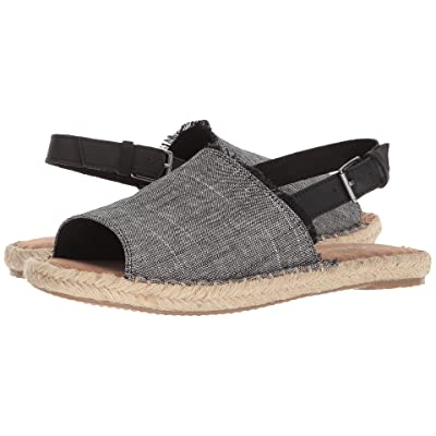 TOMS Clara (Black Textured Chambray/Leather) Women