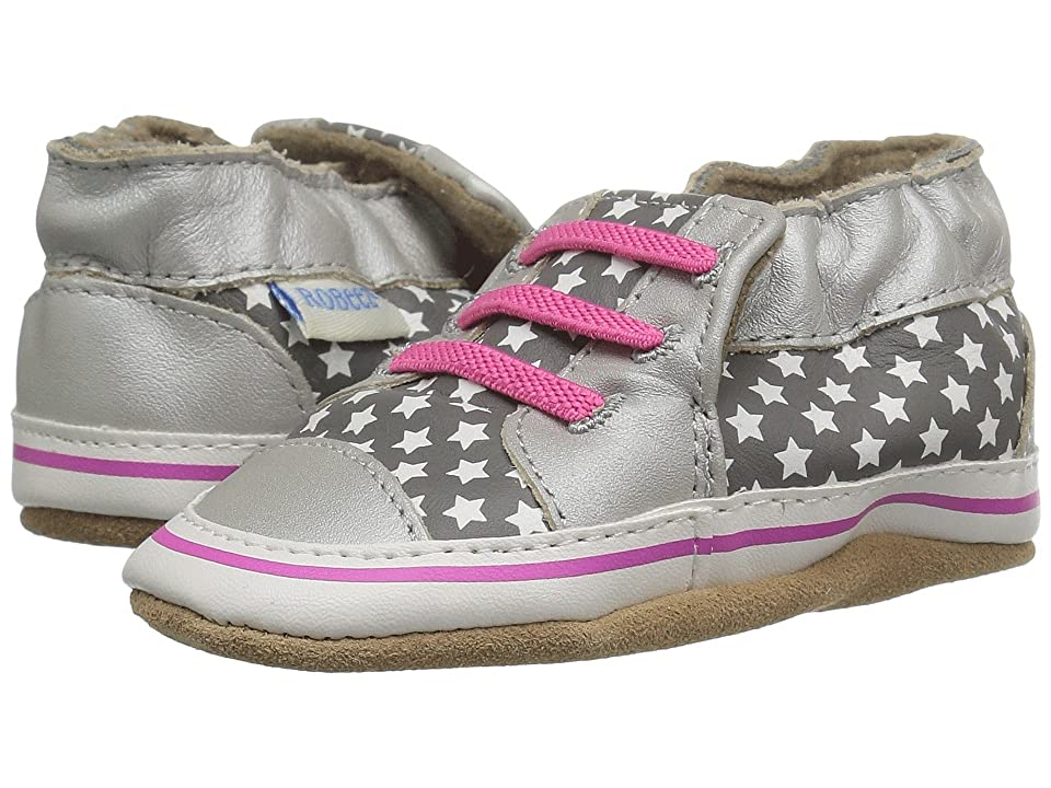 Robeez Trendy Trainer Soft Sole (Infant/Toddler) (Silver) Girls Shoes