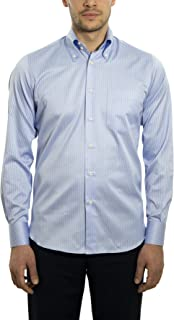 Dan Roma, Camicia Uomo, Sport, 2 Bottoni 100% Cotone, di Colore Celeste e Bianco, Taglia: XL