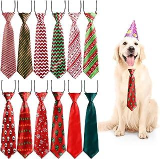 Syhood 12 Pieces Christmas Large Dog Ties Xmas Large Pet Neckties Xmas Tree Snowman Snowflake Pattern Neck Tie for Christm...