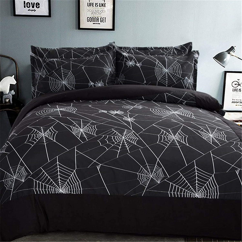 2 Pieces Spider Web Black Bedding Set with 2 Pillowcases Spider Web Duvet Cover with Zipper Closure Soft Microfiber Duvet Cover Set Single 135 x 200cm