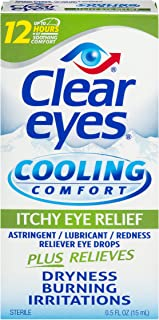 Clear Eyes | Cooling Comfort Itchy Eye Relief Drops | 0.5 FL OZ | Pack of 2