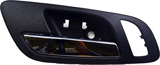 PT Auto Warehouse GM-2546MAFL2 - Inside Interior Inner Door Handle, Black (Ebony) Housing with Chrome Lever - with Memory and Heated Seat Hole, Driver Side Front