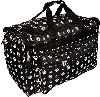 22 inch Fashion Multi Pocket Gym Dance Cheer Travel Carry On Duffle Bag with Bottle Holder (Blank - Paws)