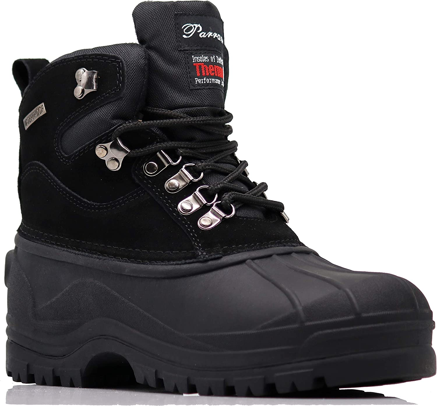 Enzo Romeo Haye Men's Winter Heavy Duty Snow Cold Weather Thermos Rubber Sole Oxfords Boots