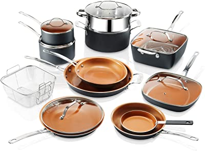 Amazon Com Michelangelo Copper Pots And Pans Set Nostick